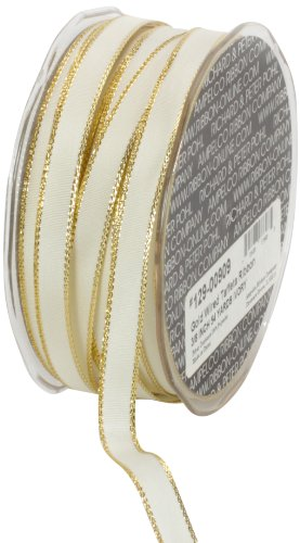 Ampelco Ribbon Company Gold Wired 54-Yard Taffeta Ribbon, 3/8-Inch, Ivory