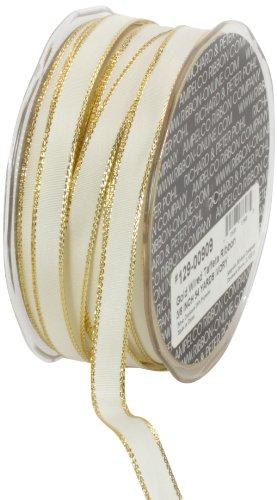 Ampelco Ribbon Company Gold Wired 54-Yard Taffeta Ribbon, 3/8-Inch, Ivory