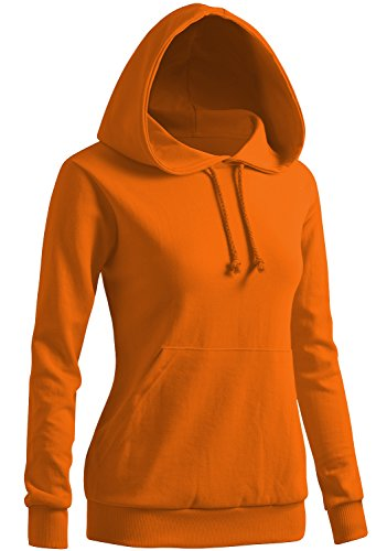 (CLOVERY Women's Long Sleeve Pullover Kangaroo Pocket Hoodie Orange Medium)