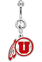 Utah Utes Belly Navel Ring in Color Logo, Stainless Steel and Sterling Silver