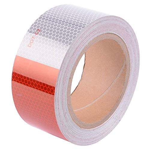 Brightplus DOT-C2 Reflective Tape, Auto Car Motorcycle Trailer Truck Caution Reflectors,11'' Red and 7'' White Adhesive Safety Warning Tape (2
