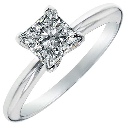 Cut Moissanite Solitaire - 2.0 ct Brilliant Princess Cut Solitaire Highest Quality Moissanite Ideal VVS1 D 4-Prong Engagement Wedding Bridal Promise Anniversary Ring in Solid Real 14k White Gold for Women, Size 5