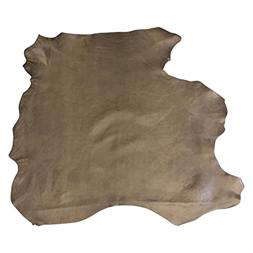 Craft Upholstery Fabric (Genuine Leather Hide – Quality Full Skins – Brown Tones Color - 6 sq ft - 2 oz. avg Thickness – Rustic Tanned Finish – Real Lambskin Fabric – Thin Upholstery Fabric – Soft Craft DIY Supply)