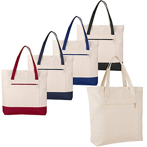 - SET OF 4 - Heavy Canvas Large Size Fancy Zippered 12oz.Travel Tote Bags, Canvas Tote Bags by BagzDepot (Mix-4-Colors)