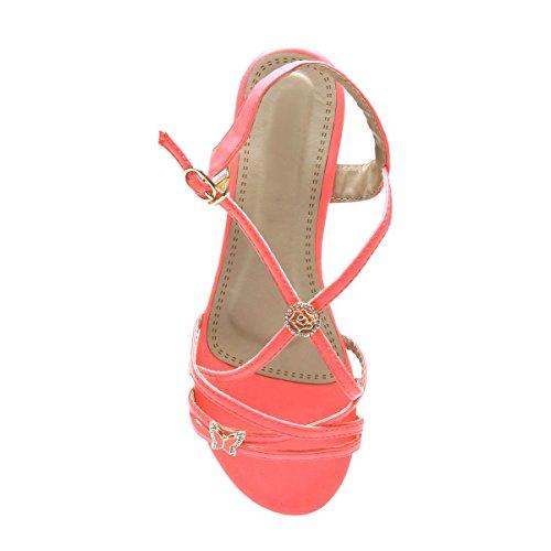 La Modeuse - Sandalias de vestir para mujer fucsia