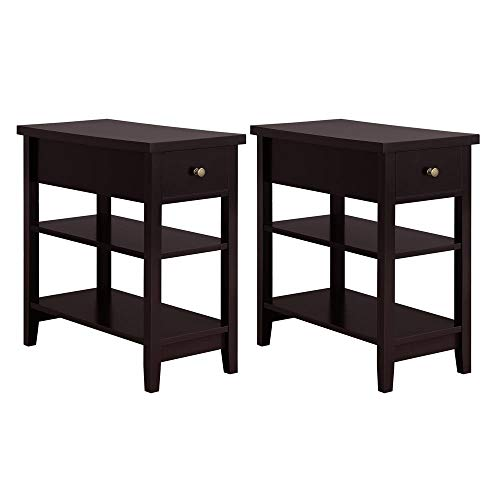 Yaheetech 3 Tier Sofa Side End Table with Double Shelves 1 Drawer - Nightstand Coffee Table for Living Room, Set of 2, Espresso (Under $500 Set Room For Living)