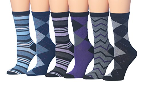 Tipi Toe Women's 6-Pairs Argyle & Stripe Colorful Crew Dress Socks, (sock size 9-11) Fits shoe size 5-9, WC44-A