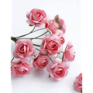 Zva Creative Mini Rose Bulk Paper Flowers .5' (12mm) 144 Stems Pink by BadaBada Favors 56