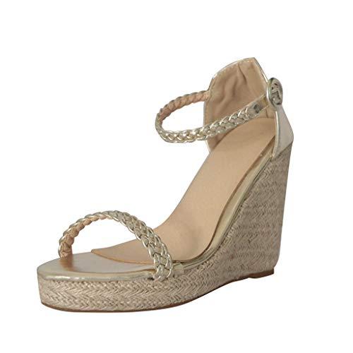 Wedge Sandal for Women - WEUIE Summer Beach Ankle Strap Open Toe Espadrilles High Heel Roman Sandals