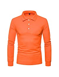 Men Tops Fashion Autumn and Winter Men Solid Color V-Neck Long-Sleeved T-Shirt
