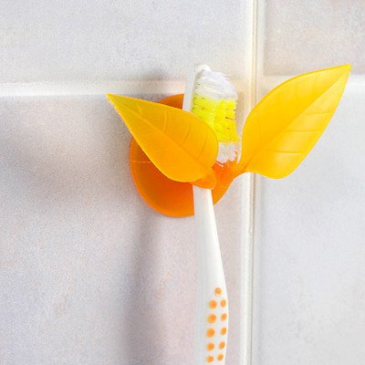 Toothbrush Holder Suction Cup - Suction Cup Toothbrush Holder - Multifunctional Toothbrush Holder Suction Cup Leaves Styling, Creative And Practical Compact Rack, Razor Holder (orange)