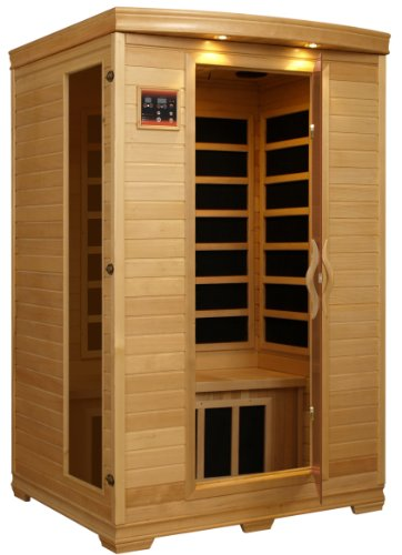 BetterLife BL6232 2 Person Carbon Infrared Sauna with ChromoTherapy Lighting, 48 by 42 by 77-Inch, Natural Hemlock Wood Finish (Infrared Sauna Therapy)