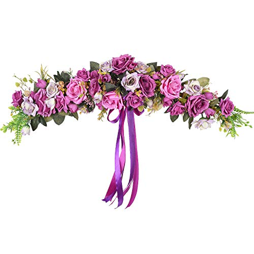 (TINGOR 24 Inch Artificial Rose Flower Swag, Decorative Rose Wreath Swag with Purple Roses, Green Leaves and Silk Ribbon for Wedding Arch Front Door Wall Decor)