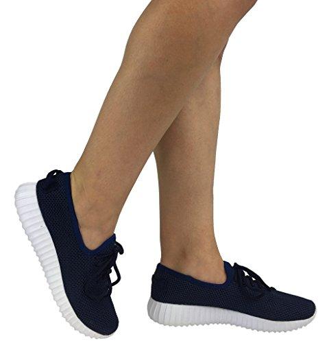 Die athletischen Schuhe der Sammlungs-Jill-Frauen beiläufige Art- und Weisebreathable Maschen-Turnschuhe Navy Mesh