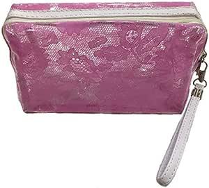 Portable Waterproof Handle Lace Design Makeup Pouch