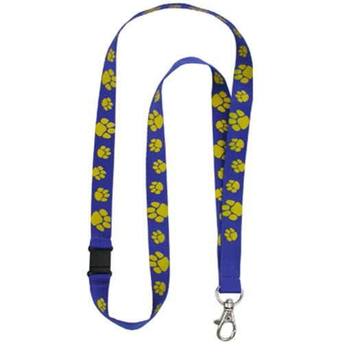PinMart's Blue and Gold Paw Print School Mascot Sports Lanyard w/Safety Release by PinMart (Image #1)