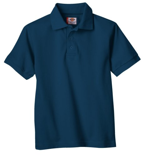 Dickies Big Boys' Short Sleeve Pique Polo Shirt, Dark Navy, Large (14/16)]()