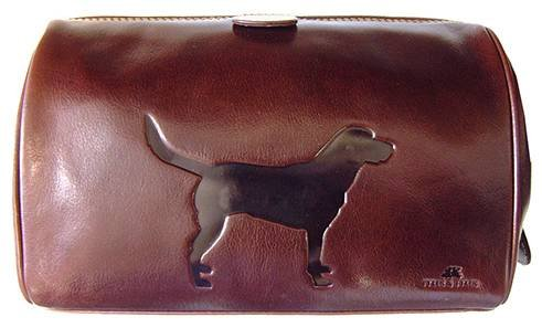 Dark Brown Italian Hide Leather Labrador Wash Bag by Tyler and Tyler by Tyler