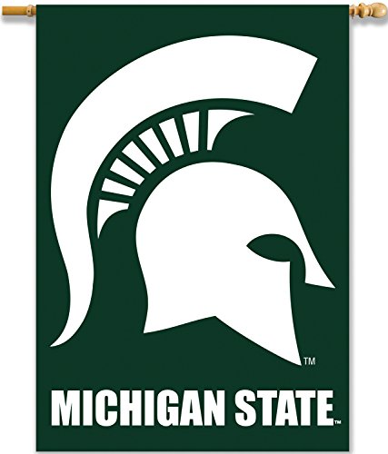 [NCAA Michigan State Spartans 2-Sided 28 x 40-Inch Banner with Pole Sleeve, Team Color, One Size] (Premium 2 Sided Banner Flag)