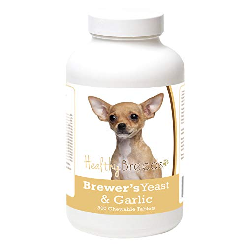 Healthy Breeds Dog Brewers Yeast Garlic Tablets for Chihuahua – Over 200 Breeds – Veterinarian Formulated Skin & Coat Supplement – 300 Chews Review