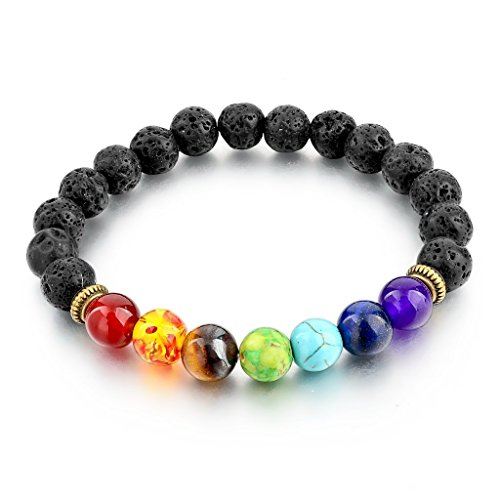 Long Way Positive Energy Healing 7 Chakra Lava Stone Bracelet Gemstone Beads Bracelets For Women Men (Healing Energy Jewelry compare prices)