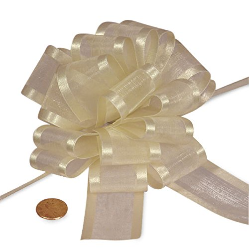 Satin Edge Pull Bow - Ivory Sheer Pull Bow with Satin Edges 4