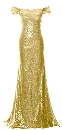 Light Evening Gown Off Mermaid Dress MACloth Gold Prom the Shoulder Sequin Women Formal qvBBzPC6