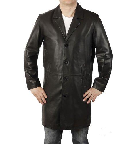 Ledermantel aus schwarzem Leder mit 7/8-Revers-Kragen
