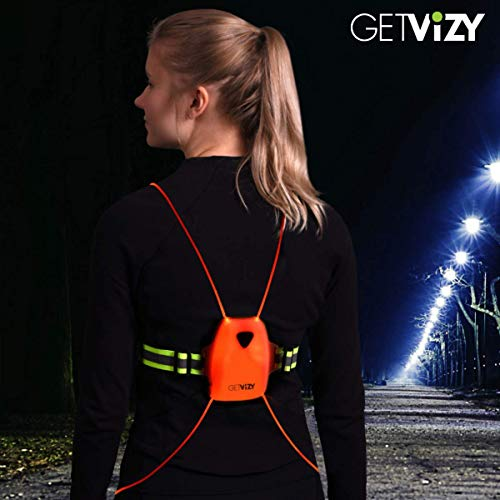 VizyVest: Rechargeable Flashing LED Vest for Running, Walking and Cycling in The Dark. Reflective Gear for Nighttime Running, Walking or Cycling. ()