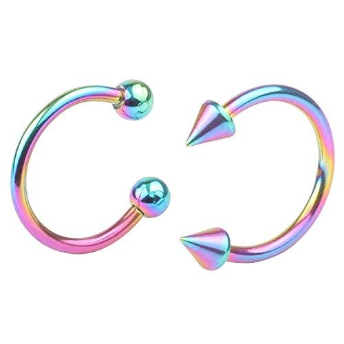 Surgical Steel 16G 2pcs Nose Septum Horseshoe Hoop Earring Eyebrow Tragus Lip Piercing Ring 3mm Ball\Spike 6mm