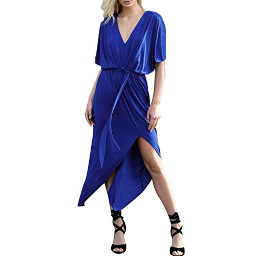 PENGYGY Woman Boho Split Dress Sexy V Neck Long Skirt Solid Party Dress with Belt Dress Blue]()