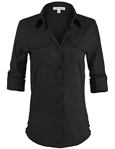 [Side Ribbed Collared Stylish Button Down Solid Color Shirts 108-Black US S] (Contemporary Machine Embroidered Fashions)