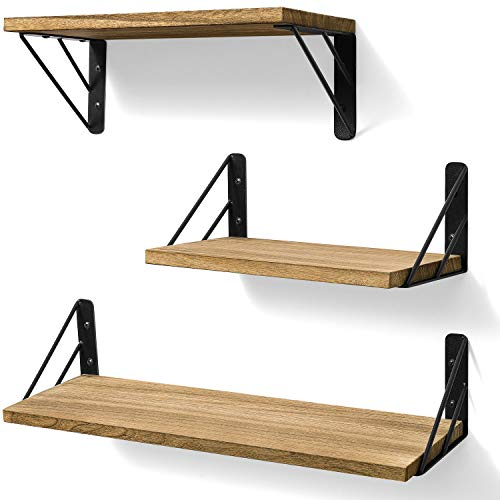 BAYKA Floating Shelves Wall Mounted, Rustic Wood Wall Shelves Decor Set of 3 for Bedroom, Bathroom, Living Room, Kitchen, Office, Laundry Room