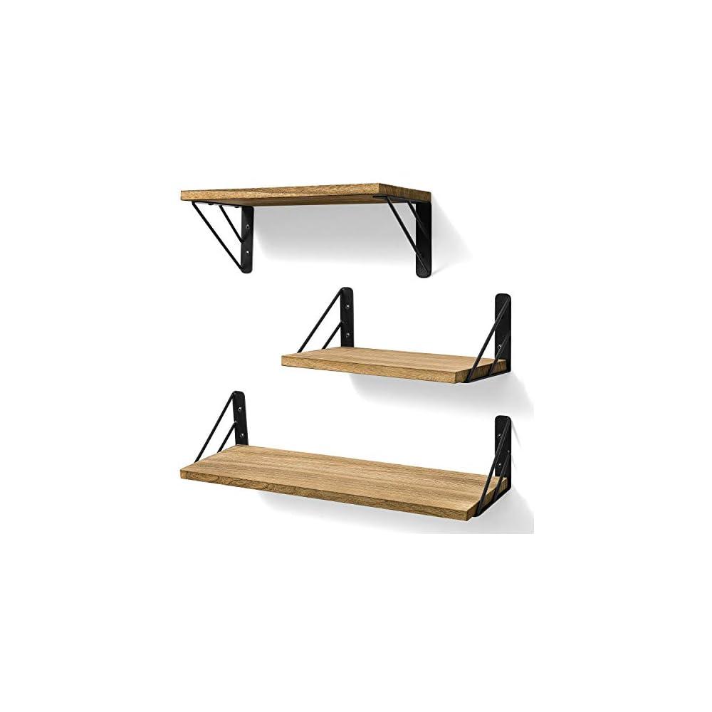 BAYKA Floating Shelves Wall Mounted, Rustic Wood Wall Shelves Decor Set of 3 for Bedroom, Bathroom, Living Room, Kitchen…