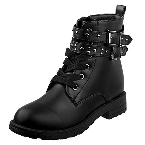 (Kensie Girl Mid Shaft Combat Style Boot, Black Buckle, 3 M US Big Kid')