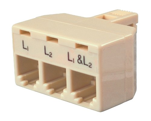 Allen Tel AT173 4 Conductor, 6 Position Plug, Accomodates Two Single-Line and One Two Line Telephones Triplex Modular Adapter (One Modular Plug)