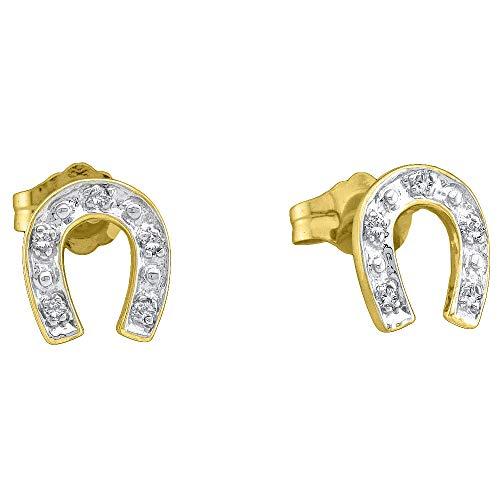 Horseshoe Ladies Diamond Ring (The Diamond Deal 10kt Yellow Two-tone Gold Womens Round Diamond Horseshoe Stud Earrings 1/20 Cttw)