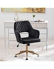 DUHOME Kontorsstol skrivbordsstol sammetsskydd höjd justerbar svängbar stol lutningsmekanism 6290B, färg: svart