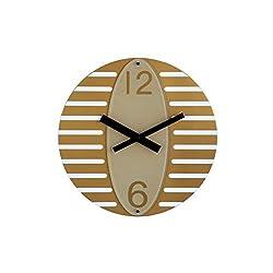 """AmigasHome 13.75"""" Unique, Futuristic 3D Design Quiet Sweep Movement Oval Wall Clock, Ideal for Studio Workshop Café Restaurant - Gold"""