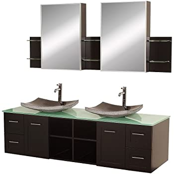 Wyndham Collection Avara 72 Inch Double Bathroom Vanity In Espresso, Green Glass  Countertop, Altair