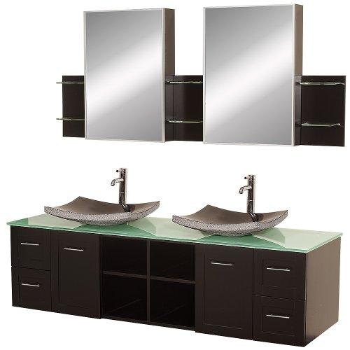 Wyndham Collection Avara 72 inch Double Bathroom Vanity in Espresso, Green Glass Countertop, Altair Black Granite Sinks, and Medicine (Optional Bathroom Sink)