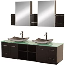 Wyndham Collection Avara 72 inch Double Bathroom Vanity in Espresso, Green Glass Countertop, Altair Black Granite Sinks, and Medicine Cabinets