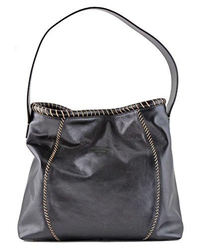 Black Stitched Handbag - Cuoieria Fiorentina Italian Leather Hand-stitched Handbag (Black)
