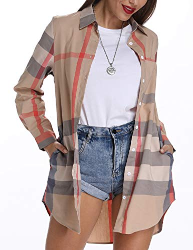 Acloth Plaid Blouses for Women Long Sleeve Business Casual Clothes Tops Home Daily Wear Relaxed Fit Elegant Turn Down Collar Blouses 3/4 Sleeves Work Button up Boyfriend Shirt Beige Pink XL