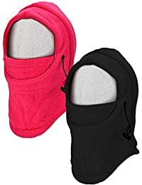 Jetec 2 Pieces Kids Ski Mask Balaclava Face Mask Windproof Neck Warmer Adjustable Full Face Cover Winter Warm Hat (Black and Rose Red)