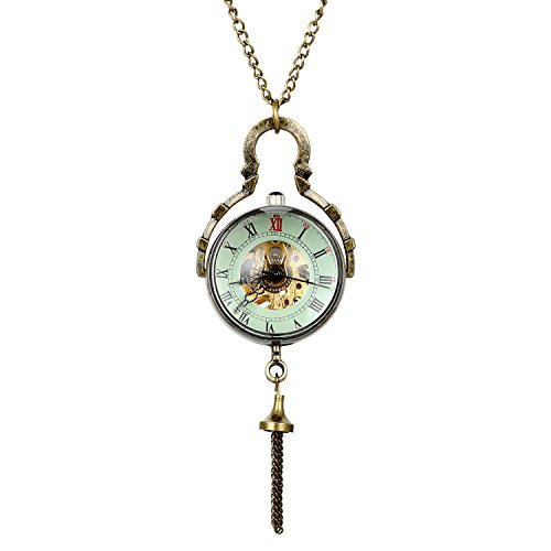 Avaner Retro Roman Numerals Dial Glass Ball Mechanical Hand Winding Pocket Watch, 32 inch Chain