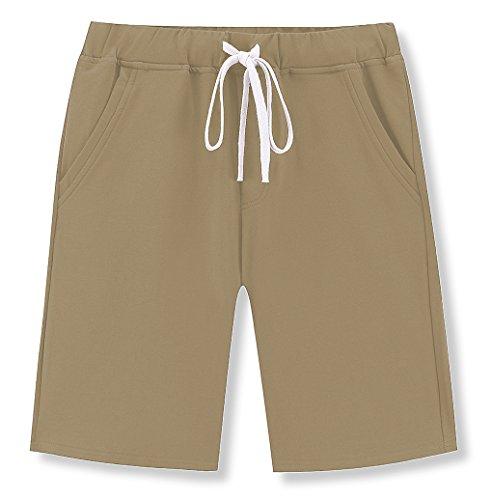 Janmid Men's Casual Classic Fit Cotton Elastic Jogger Gym Shorts (Khaki, XL)