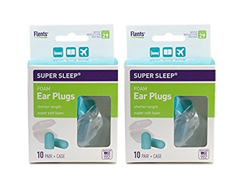 New! Super Sleep Comfort Foam Ear Plugs - 10 Pair + Carrying Case-Special Length for Sleeping on Your Side (Blue) (Pack of 2)