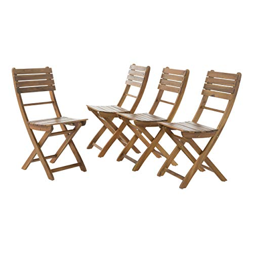 GDF Studio Vicaro | Acacia Wood Foldable Outdoor Dining Chairs | Set of 4 | Perfect for Patio | with Natural Finish