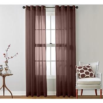 ME 2 Piece Sheer Window Curtain Grommet Panels (Chocolate Brown)   95